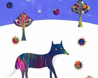 Fox art, fox print, fox giclee print, Winter Fox, fox art print, Christmas trees, Christmas art, whimsical art, collage art, mixed media.