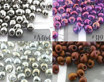 3.4mm Drop Japanese Seed Beads - CHOOSE YOUR COLOR - Four finishes - Drop beads - 10 gram packages