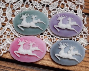 8 pcs of 4 colors of resin deer cameo 18x25mm-0190-mix color for Christmas