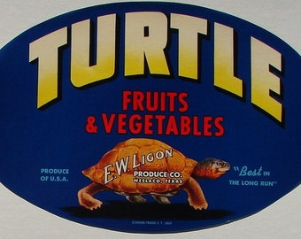 1960 Turtle Scarce E W Ligon Weslaco TX Fruit Vegetable Crate Label