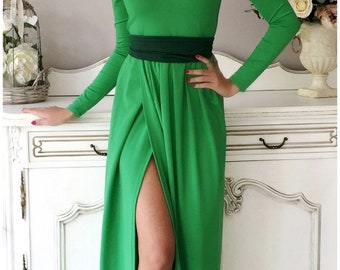Green Maxi Dress V Neck High Slit Long Sleeves Sash