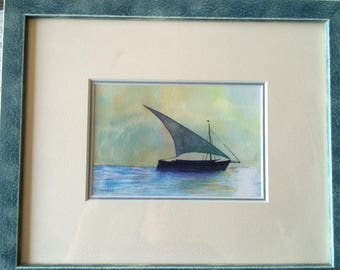 Framed watercolor sailboat