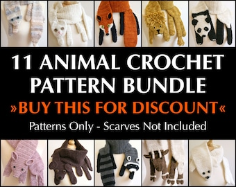 Digital PDF Crochet Pattern Bundle - 11 Crochet Patterns for Animal Scarves - DIY Fashion Tutorial - Instant Download - ENGLISH only