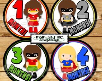 Baby Monthly Stickers Girl SuperHero Month Stickers Monthly Bodysuit Stickers Comic Monthly Milestone Stickers Baby Gift Baby Month