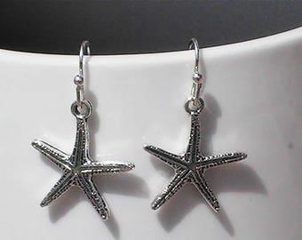 starfish earrings. starfish charms. starfish jewelry. beach earrings. beach jewelry. nautical earrings.