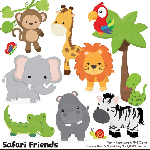 Linda selva Clipart de animales vectores animales de Safari