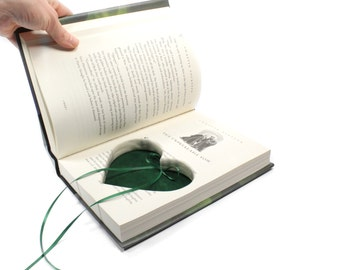 Harry Potter Wedding Proposal Ring Box Handmade Deep Heart Shaped Cut With Green Velvet Green Ribbon Engagement Ring Holder - CUSTOM ORDER