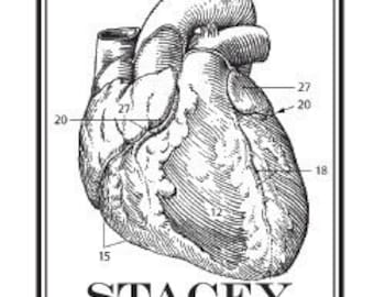 Personalized Anatomical Heart Human Anatomy Ex Libris Bookplate Rubber Stamp G13