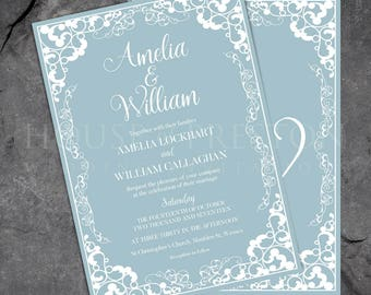 Florence Wedding Invitations, Traditional Elegant Wedding Stationery Set