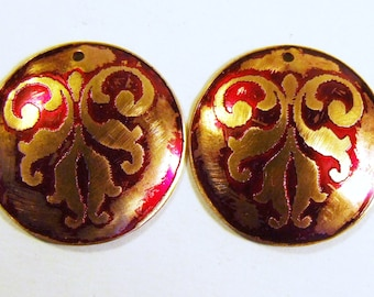 PAIR Etched Brass Charms Domed Red - Free Domestic Shipping