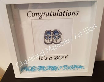 Cross stitch baby shoes