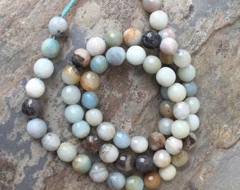 Round Faceted Amazonite Beads, Light Blue Amazonite Beads, 6mm, 15 inch strand
