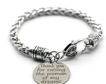 Antique Silver Tone Braid Inspiration Bracelet, Thank you for Raising the Woman of My Dream, SB25