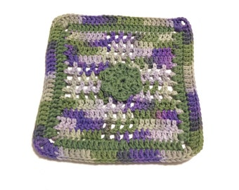 Country Side Ombre And Sage Green Flower Crocheted Square Dish Cloth