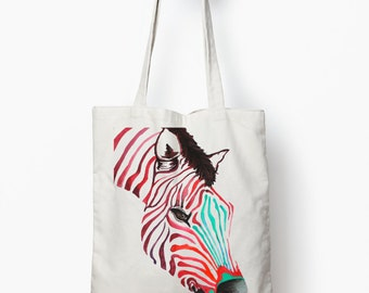 zebra tote bag, tote bag, canvas tote bag, animal tote