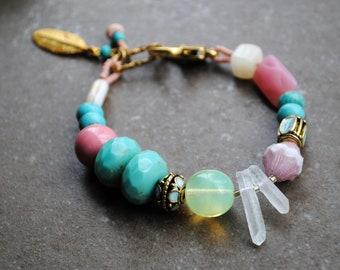 Beaded bracelet, Turquoise Bracelet, Rustic bracelet, Bohemian jewelry, Spring bracelet, boho bracelet, Artisan bracelet, Flower bracelet