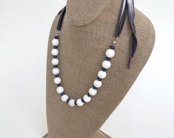 White Riverstone and Purple Jade Necklace