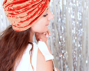 Crushed Velvet Turban Hat in Rust Orange - Women's Fashion Hair Wrap - Pumpkin Spice - Lots of Colors