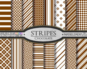 Chocolate Striped Digital Paper Pack - Instant Download - Stripes and Diamond Patterned Paper for Digital Scrapbooking