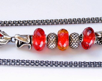 925 Silver Fantasy-Necklace with faceted Red Quartz Pendant