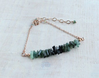 Raw Tourmaline Bracelet, Rough Tourmaline, Tourmaline Crystal, Raw Gemstone Jewelry, Indicolite Bracelet, October Birthstone, Gift for her