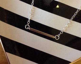 Dainty Silver Horizontal Bar Pendant Necklace
