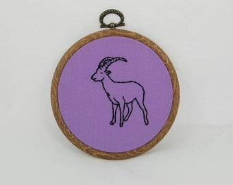 Purple Goat Embroidered Hoop Art