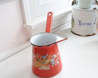 French Enamelware Pitcher, Warmer, Red flowered Enamelware, c. 1950, Peacock, Gift for Her, Housewarming Gift