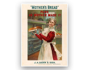 Mother's Bread, 1900s Food Advertising Poster, Retro Kitchen Art, Vintage Style Print,