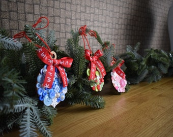 Handmade Christmas tree ornaments. Set of 3.