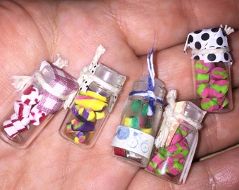 Free shipping**Lot of 5 dollhouse miniature candy jars kitchen grocery 1:12 lot #2