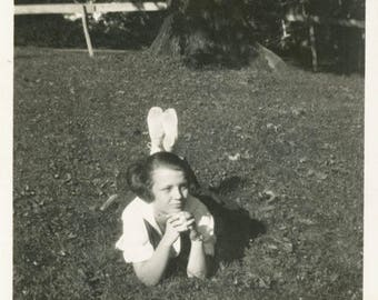 vintage photo 1920 Young Woman Kicks up Feet Laying in Grass