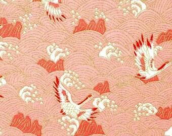 Handmade origami paper - Cranes on pink