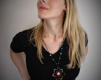 gem necklace, shell necklace, boho necklace, gemstone necklace, braided necklace, hippie necklace. gemstone star necklace.