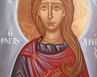St Mary Magdalene- Contemporary religious painting egg-tempera on canvas - Holy Myrrhbearers christian icon wall art and home altar decor