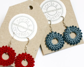 Crochet Donut Earrings with Swarovski Crystals
