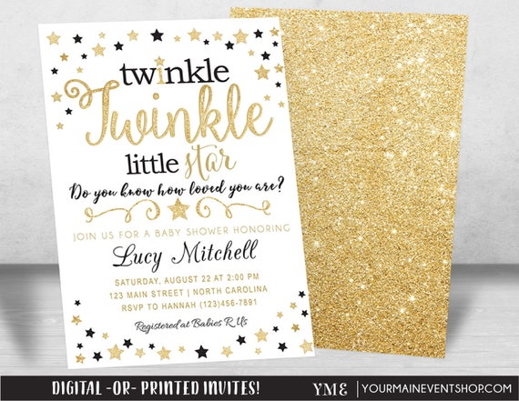 Twinkle Twinkle Little Star Baby Shower Invitation, Twinkle Twinkle Shower Invitation, Black and Gold Star Invite, Gender Neutral • BS-T-01