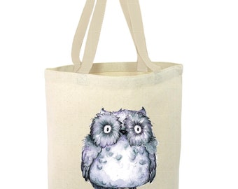 Heavy Duty Canvas Tote Bag - Owl,Baby Owl Tote Bag, Beach Tote Bag,The Toad's Totes,Reusable Tote, Project Bag