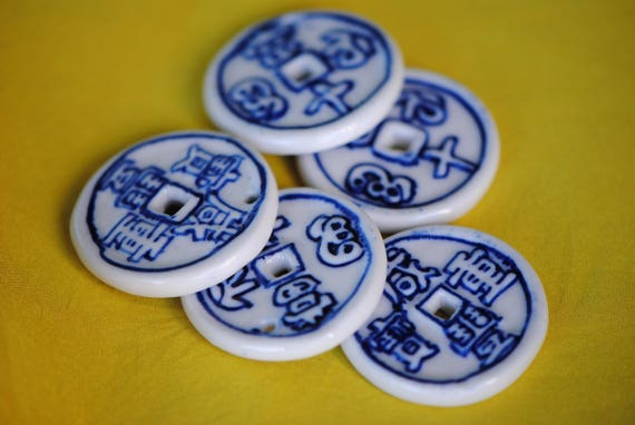 Porcelain chinese coin pendant 30mm pendant asian coin pendant porcelain chinese coin pendant 30mm pendant asian coin pendant chinese coin beads blue white porcelain ceramic donut beads from elysianearwear on mozeypictures Choice Image
