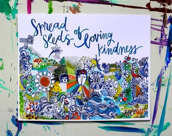 spread seeds of loving kindness - 8 x 10 inches