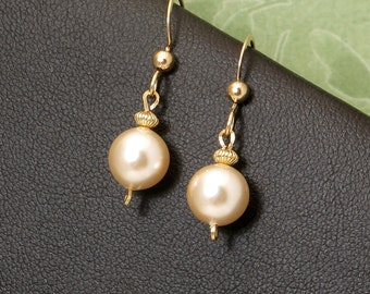 Cream Pearl Gold Earrings, Cream Pearl Small Drop Earrings, Pearl Wedding Jewelry