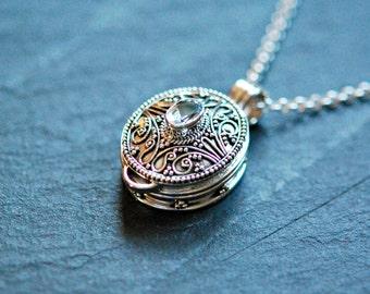 Stash necklace, sterling silver snuff necklace, prayer box, poison, wish, locket, garnet, peridot, amethyst, secret jewelry - whimsical2