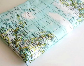 World map dress printed strapless cotton summer dress map of world map fabric maps print fabric map of the world mint blue gumiabroncs Image collections