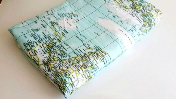 World map fabric maps print fabric map of the world like this item gumiabroncs Image collections