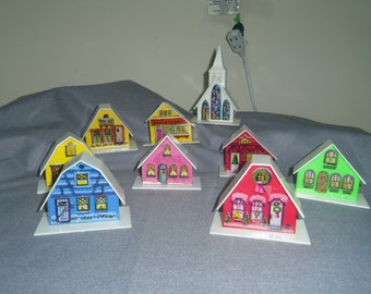 Christmas Light Covers, Village Church and Houses (9) Plastic Buildings