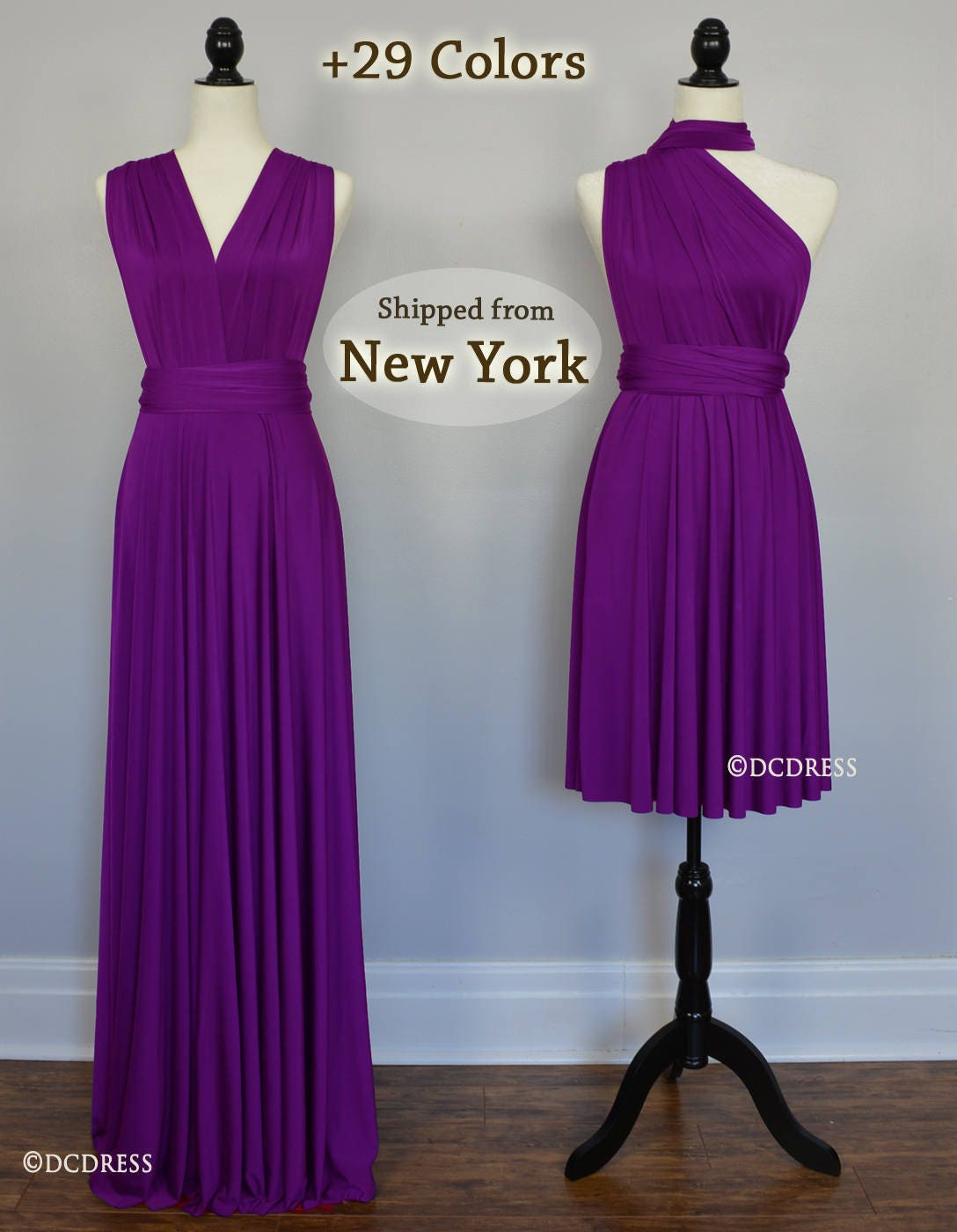 Purple Bridesmaid dress party dress convertible dresses