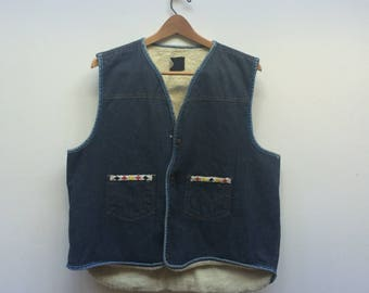Sears and Roebuck Denim Vest with Native Style Beading