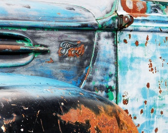 Blue rusty car picture, retro art, colorful photo print, old vintage Ford, large canvas photography, wall decor 8x10 11x14 12x12 12x16 12x18