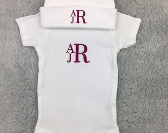 Monogrammed baby outfit - preemie / newborn/ infant - baby shower gift, coming home outfit, NICU clothing, personalized gift, preemie gift