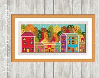 Cross Stitch Pattern - Autumn Trees - Houses - Folk Art - Modern Cross Stitch Pattern - Embroidery Design - Counted Cross Stitch Chart